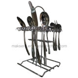 Bright Chromed Steel Dinnerware Rack Cutelery Stand