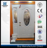 Small Oval Design Decorative Glass Inserted Steel Door