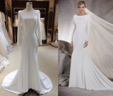 Stretch/Elastic Satin Full Sleeve Wedding Gown