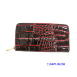 Fashion Design Croco PU Leather Lady′s Zippy Clutch