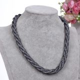 Fashion Crystal Mesh Braided Twist Magnetic Clasp Choker Necklace Jewelry
