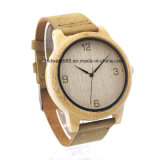 Popular Japan Movement Unisex Wooden Watch with Leather Strap