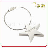 Custom Laser Engraved Star Shape Cable Metal Keyring