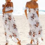 Fashion Women Chiffon Printed Wrapped Chest Strapless Beach Dress