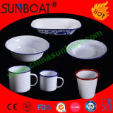 White Porcelain Dinnerware Enamel Dish+Mug+Bowl