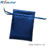 Coustom Blue Satin Double-Side Drawstring Pouch for Jewelry Gifts