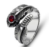 Fashion Feather Tail Ring Stainless Steel Red Zircon