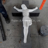 White Marble Hand Carving Jesus Cross Sculpture