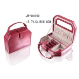 Pink PU Leather Gift Jewelry Box and Bearty Case