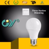 Hot Three Section Dimmable LED A60 9W Bulb Light with Ce