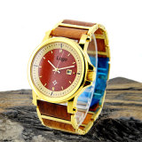 OEM Wooden Unisex Gold Stainless Steel Watch