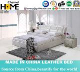 European Luxury Bedroom White Genuine Leather Double Bed (HC230)