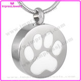 Ijd8088 Wholesale Round Cremation Pendant Necklace Paw Engraved Stainless Steel Ashes Memorial Holder