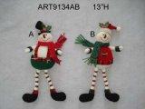 Floral Snowman Ornaments with Pompom+Button Legs, 2 Asst