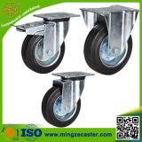 Steel Core Black Rubber Wheels Fixed Transport Castor