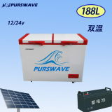 Purswave Wrf-188 188L DC Solar Chest Freezer 12V24V220V110V Refrigerator Double Temperature Powered by Solar Panel and Battery -20degree 0~10degree