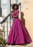 Long Sleeve Beaded Satin Prom Evening Dress (42074)