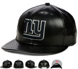 Profession 3D Ny Embroidery Black PU Leather Sports Snapback Hat Cap Wholesale