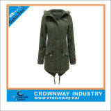 Long Military Green Parka Jacket for Ladies