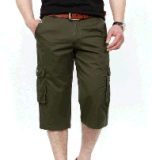 Top-Quality Men′s Cotton Twill Canvas Leisure Fashion Olive Green Short Pants