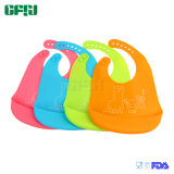FDA/LFGB Manufacturer Baby Products Organic Silicone Baby Bib with Crumble Catcher