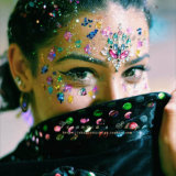 New Design Custom Self-Adhesive Rhinestone Jewels Face Sticker for Party Makeup (S024)