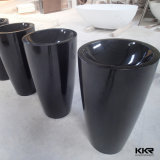 Colored Artificial Marble Freestanding Black Pedestal Basin (170815)