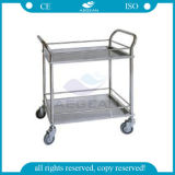 AG-Ss022 Hospital Used Sample Three Stainless Steel Trays Crash Cart Medical Trolley