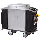 Hotel Stainless Steel Trolley with Lockable Lid and Door