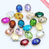 Glass Pendant Oval Glass Rhinestone Accessories for Beaded Necklace (SW-Oval 8*10mm)
