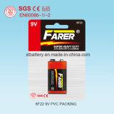 Cadmiun-Free Farer Super Heavy Duty Dry Battery (9V 6f22)