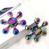 High-Quality Six Winged Water Drop Rainbow Brass Hand Fidget Spinner