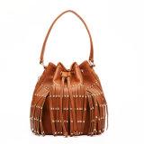 Women Tassel Rivet Leather Dumpling Fashion Drawstring Bag (MBNO037113)