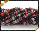 Rainbow Agate Faceted Rondelle Gemstone Bead (GB015)