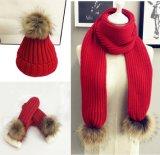 Womens Unisex Children Girls Boys Ladies 3PC Winter Real Fur POM POM Beanie Scarf Long Gloves Flip Cover Hat Set (SK122S)