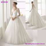 V-Neck Formal Dress A-Line Silver Beading Wedding Gown W18539