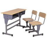 Wood School Furniture Classroom Study Double Desk with Chair