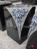 Granite Stone Flower Vase for Monument with Carved Flower