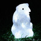 Outdoor Christmas Holiday Decoration LED Solar Bear Motif Acrylic Light