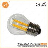 CE RoHS Ra90 400lm G45 4W LED Filament Bulb