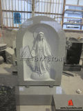 Upright Light Grey Granite Headstone with Virgin Mary Carving