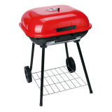 Red 22′′ Apple Portable Trolley Charcoal BBQ Grill