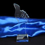 Crystal Trophy Award Thumb with Clear Base