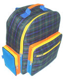 Check Polyester Shoulder School Bag with PVC Backing