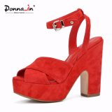 Lady Ankle-Strap Suede Leather Shoes High Heels Platform Women Sandals