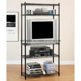 Black Powder Coating Metal Wire Home Storage Rack (LD7535180A4E)