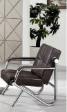Modern Leather Bench Office Sofa with Stainless Frame B27# in Stock 1+1+3