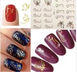 3D Golden Butterfly Water Nail Art Stickers Nail Sticker