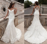 Mermaid Strapless V Neck Lace Full Length Wedding Bridal Dress