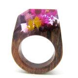 Wood Pink Ring Wood Resin Ring Flower Artistic Ring Wedding Woodland Ring